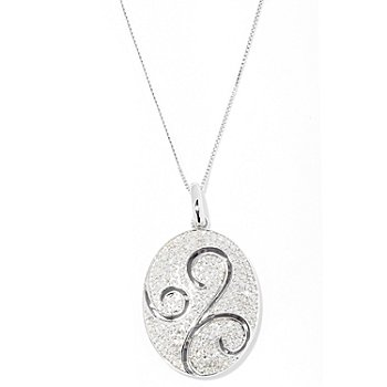 127-175 - Diamond Treasures Sterling Silver 0.75ctw White Diamond Oval Pendant w/ Chain