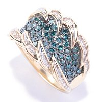14K YG 1.00 CTW BLUE & WHITE DIAMOND RING