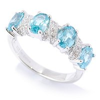 SS/PLAT RING BLUE ZIRCON