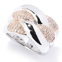 SS INTERTWIND PAVE DIAMOND RING
