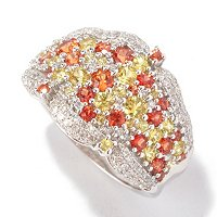 EFFY 14K WG ORANGE AND YELLOW SAPPHIRE RING W/ DIAMONDS