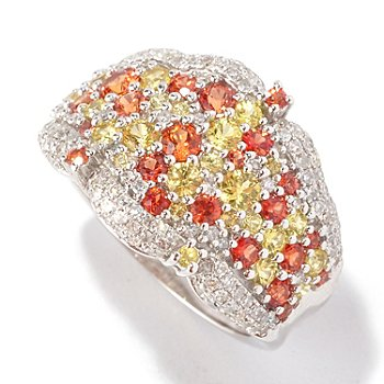 127-197 - EFFY 14K White Gold 2.56ctw Diamond, Orange & Yellow Sapphire Scatter Ring