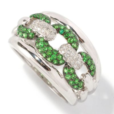127-198 - EFFY 14K White Gold 0.68ctw Diamond & Tsavorite Chain Link Ring