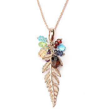 127-218 - Colette 9.99ctw Multi Gemstone Leaf Drop Pendant w/ 20.5'' Chain