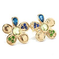 SS/18KGP EAR MULTI GEMSTONE FLOWER STUD