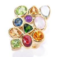SS/18KGP RING MULTI SHAPE BEZEL-SET GEMSTONE