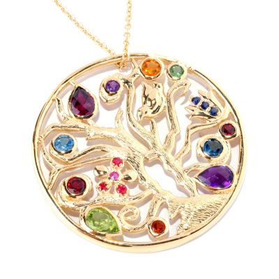 127-224 - Colette 4.18ctw Multi Gemstone Tree Medallion Pendant w/ Chain