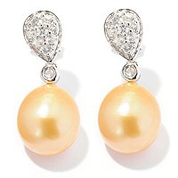 SS 9-10mm DROP GOLDEN SOUTH SEA & WHITE ZIRCON EARRINGS