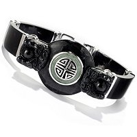 "SS 7.5"" BLACK ONYX & GREEN JADE DRAGON LINK BRACELET"