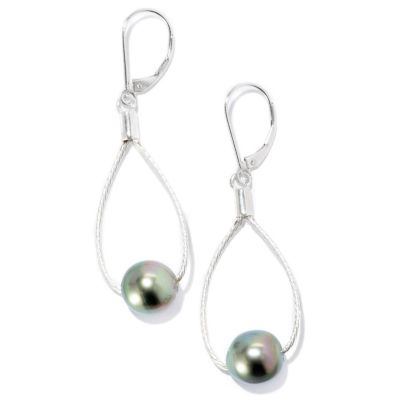 127-249 - Sterling Silver 9-10mm Peacock Tahitian Cultured Pearl Teardrop Earrings