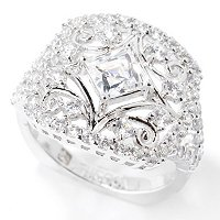TYCOON SS/CHOICE SQAURE TYCOON CUT & ROUND FILIGREE RING