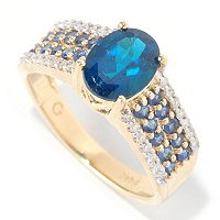 14K NEON BLUE APATITE AND DIAMOND RING