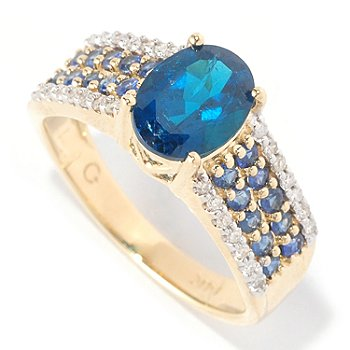 127-270 - Gem Treasures 14K Gold 1.45ctw Neon Blue Apatite, Blue Sapphire & Diamond Band Ring