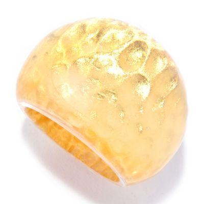 "127-286 - Italian Designs with Stefano 24K ""Oro Puro"" Gold Foil Hammered Ring"