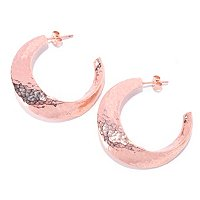 14K ROSE GOLD ORO VITA HAMMERED HOOP EARRINGS