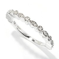 "SS/PLAT RING .10CT DIAMOND ""REBECCA"" STACK"