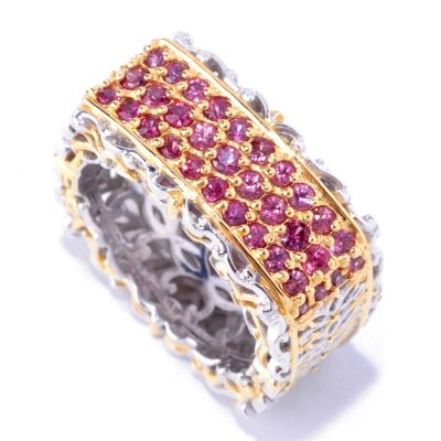 127-308 - Gems en Vogue II 1.12ctw Raspberry Sapphire Square Band Ring