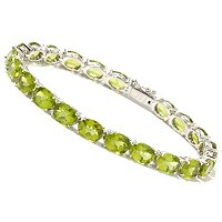 "GI SS PERIDOT OVAL 8X6 TENNIS BRACELET 7.5""W/ CLICKER CLOSE & SAFETY"