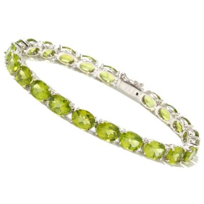 127-313 - Gem Treasures Sterling Silver 8 x 6mm Oval Peridot Tennis Bracelet