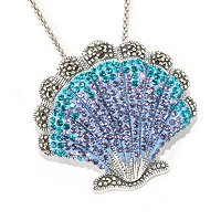 SS MULTI COLOR CRYSTAL AND MARCASITE CLAM PENDANT