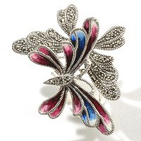 SS DOUBLE BUTTERFLY RING ENAMEL AND MARCASITE