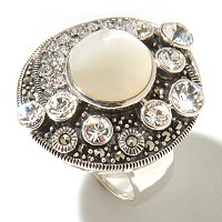 SS MARCASITE RING WITH MOTHER OF PEARL CENTER STONE