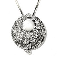 SS MARCASITE PENDANT WITH MOTHER OF PEARL CENTER