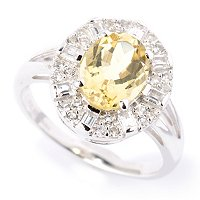 SS OVAL 9X7 YELLOW BERYL RING WITH WHT ZIRCON ACCENTS