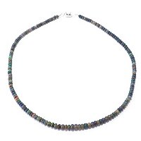 SS BLACK ETHIOPIAN OPAL BEAD NECK 18""