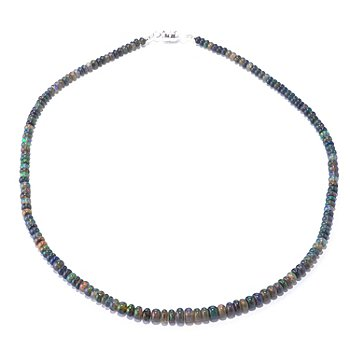 127-340 - Gem Insider Sterling Silver 18'' Ethiopian Smoked Opal Bead Necklace w/ Magnetic Clasp