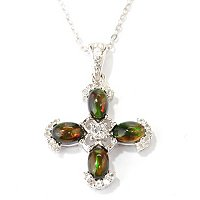 SS BLACK ETHIOPIAN OPAL CROSS WITH CHAIN