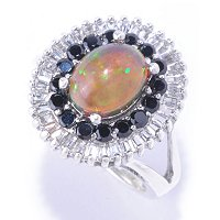 SS BLACK OPAL RING WITH ZIRCON AND BLK SPINEL ACCENTS
