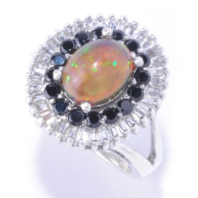 127-344 - Gem Insider Sterling Silver 9 x 7mm Smoked Black Opal & Multi Gem Ring