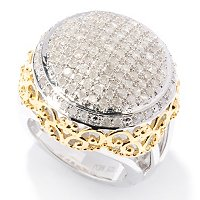 14K YG VERMIEL ROUND PAVE DIAMOND RING WITH BEADING DETAIL