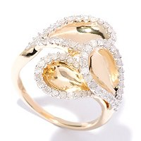 14K YG VERMEIL TEARDROP SHAPE DIAMOND RING