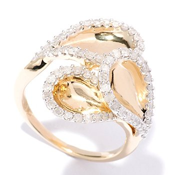 127-356 - Southport Diamonds Sterling Silver & 14K Vermeil 0.90ctw Diamond Teardrop Ring