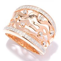 14K RG VERMEIL CUT OUT RING DIAMONDS