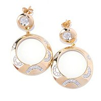 14K YG VERMEIL YELLOW DIAMOND FRONT HOOP EARRINGS