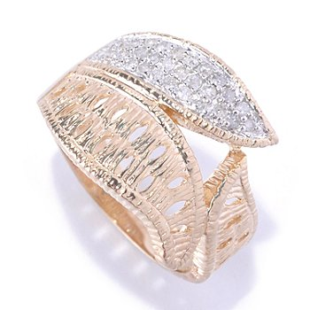 127-365 - Southport Diamonds Sterling Silver & 14K Vermeil 0.20ctw Diamond Three-Leaf Ring