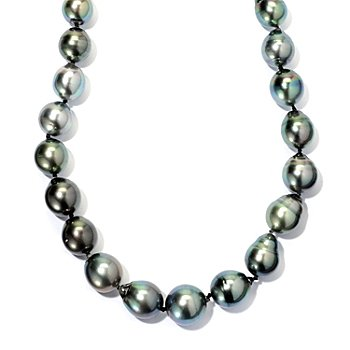 127-371 - 14K White Gold 18'' Semi-Baroque Peacock Tahitian Cultured Pearl Necklace