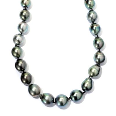 "127-371 - 14K White Gold 18"" Semi-Baroque Peacock Tahitian Cultured Pearl Necklace"