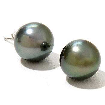 127-372 - 14K White Gold Round Peacock Tahitian Cultured Pearl Stud Earrings