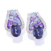 SS/P EAR EXOTIC GEMSTONE & GRADATED ENAMEL w/ OMEGA BACKS