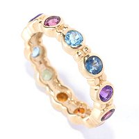 SS/18KGP TWO-TONE RING MULTI GEMSTONE STACK BAND