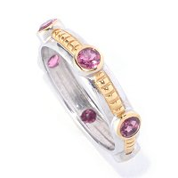 SS/18KGP TWO-TONE RING EXOTIC GEMSTONE STACK BAND