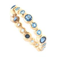SS/18KGP RING BEZEL-SET DOUBLE GEM COMBO STACK BAND