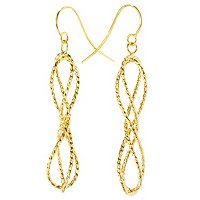 14K BALLERINA TWISTED DANGLE EARRINGS