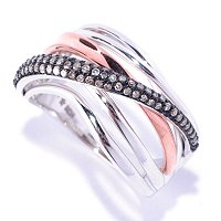 14K TT WH PK CRISS CROSS RING