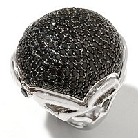 SS GLITTER BALL BLK SPINEL RING WITH WHT ZIRCON ACCENTS