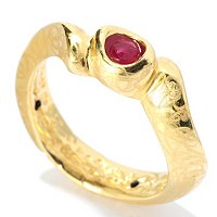 14K ORO VITA ELECTROFORM ROOT OF RUBY WAVE RING
